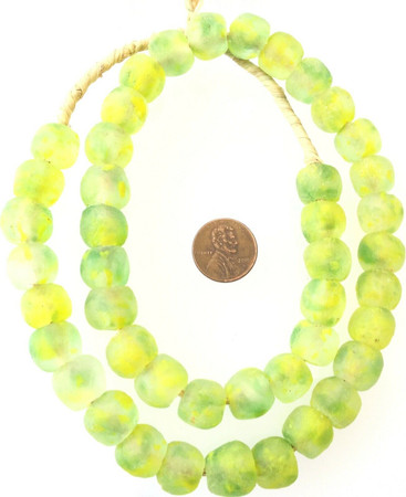 Neon Yellow Green Multi Made in Ghana Recycled glass African trade beads-Ghana