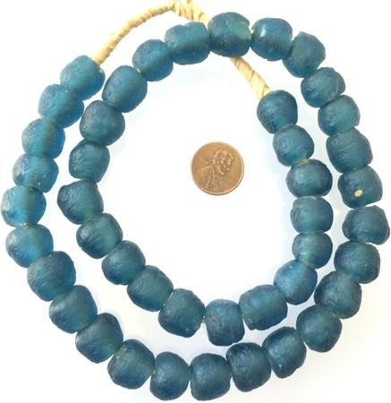 Made in Ghana Air Force Blue Krobo recycled Glass African trade Beads-Ghana
