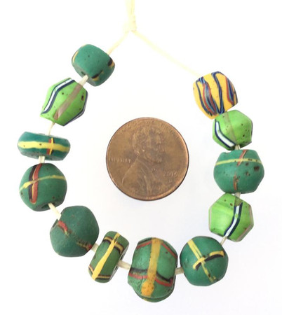 12PCS Fine old Venetian Antique Wound Assortment African Trade beads