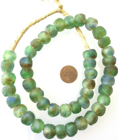 Blue Green Amber Multi Made in Ghana Recycled glass African trade beads-Ghana
