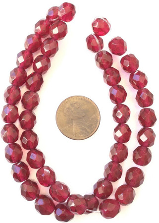 Amazing 8mm Trade Czech Maroon Red fire Polished Glass beads