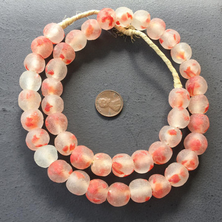 Ice Red Multi Made in Ghana Recycled glass African trade beads-Ghana