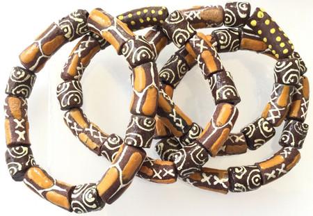 Handmade Ghana Fancy Fall leaf multi Colored bracelet-African Trade Beads-Ghana