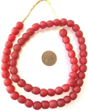 Ghana handmade Mala Red Krobo recycled Glass African trade Beads-Ghana