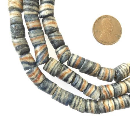 Old dark Grey swirl multi African Antique Ghana Krobo powderglass trade beads