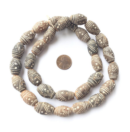 Mali Oval Shaped Clay African Terra Cotta beads