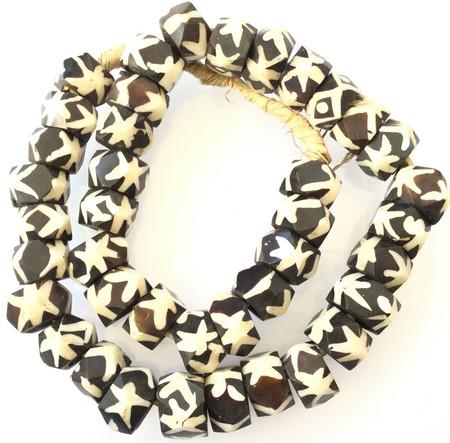 Beautiful Faceted Black and White Large Kenyan batik Bone African trade Beads