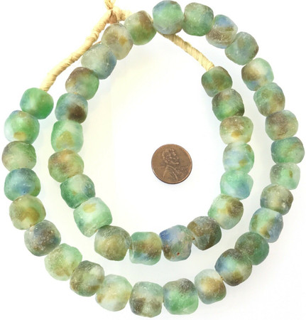 Made in Ghana Green Clear Amber Colored Recycled glass African trade beads-Ghana