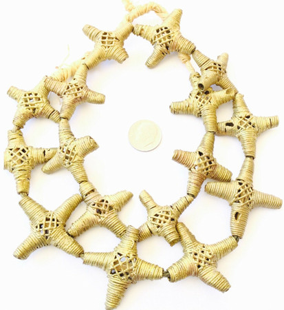 African lost Wax natural Crosses Brass African trade Beads-Ghana