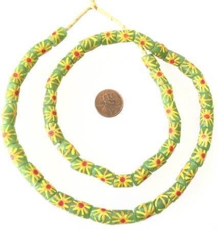 Made in Ghana Lt Green/ Yellow Sun Flower glass African trade beads-Ghana