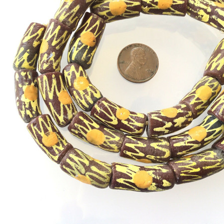 Ghana Brown Kente Zen recycled glass handmade African Trade beads