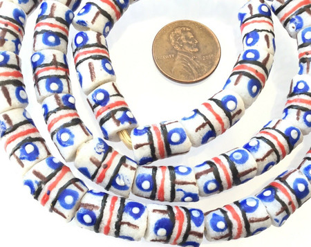 Ghana Fancy Off White Banded recycled glass handmade African Trade beads-Ghana