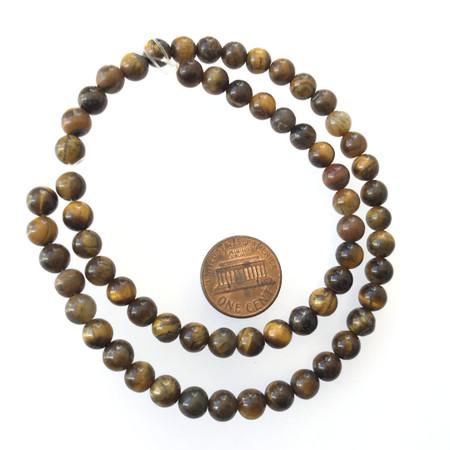 Fine 6mm Tiger's eye round Gemstone Round beads