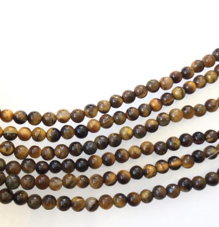 Fine 4mm Tiger's eye matte round Gemstone Round beads