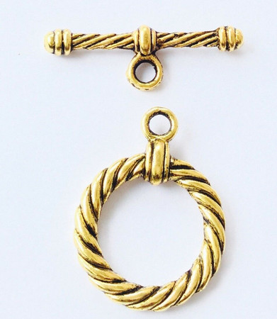 1 set Antique Gold twisted round Toggle Clasps-Jewelry Supplies