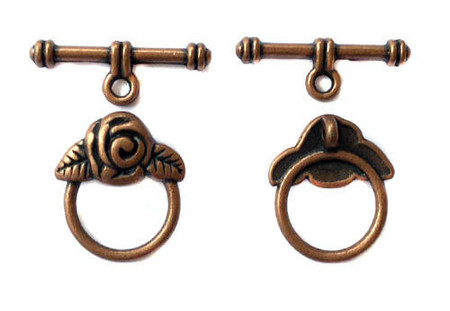 1 set Antique Copper round with Rose Bud Toggle Clasps Wholesale Price
