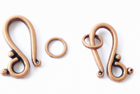 1 set Antique Copper S Hook Clasps-Toggle set-Jewelry Supplies