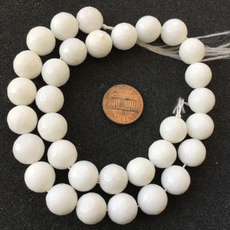 12mm white Jade faceted Round Gemstone beads