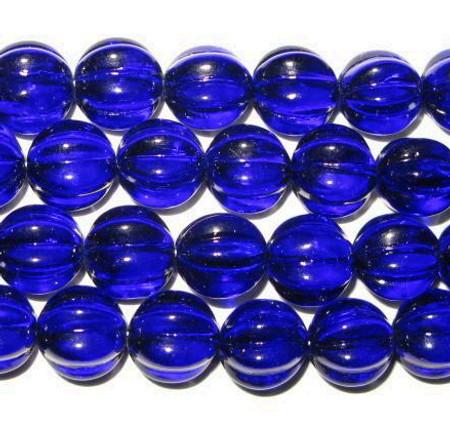 Czech Cobalt Melon Bohemian glass beads