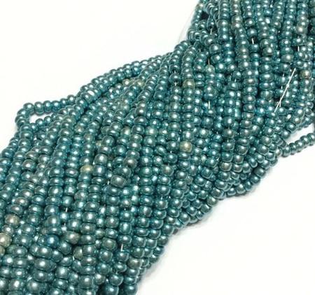 6/0 Czech Seed Beads Aqua Blue luster Glass-6 Strands-Seed Beads