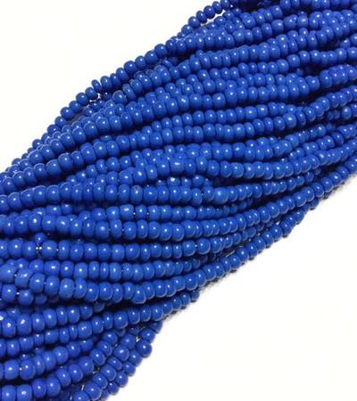 6/0 Czech Seed Beads Opaque Blue Glass 6 strands-seed beads