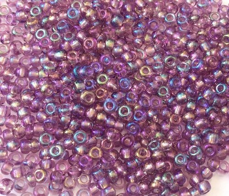 Czech round 8/0 Transparent Amethyst Rainbow Glass Seed Beads