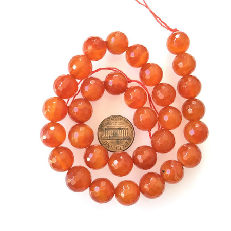 12mm Amazing Faceted Carnelian Agate Round Gemstone Beads