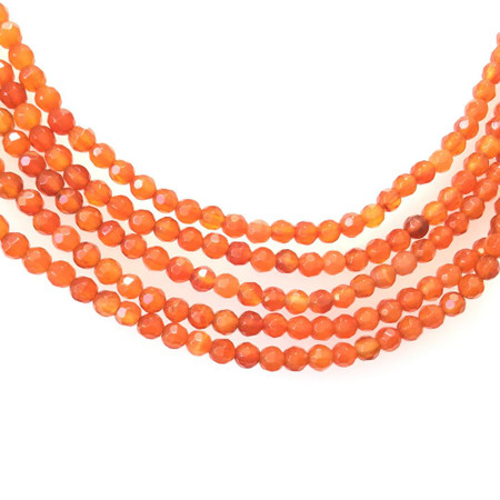 4mm Faceted Carnelian Agate Round Gemstone Beads Stone-Jewelry Making
