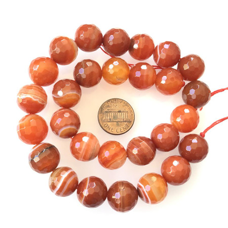 4mm Amazing Faceted Carnelian Agate Round Gemstone Beads
