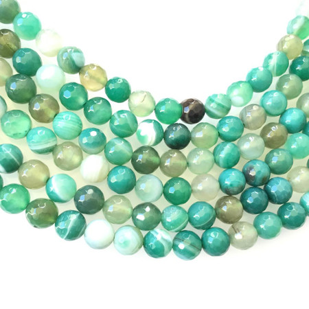 Fine 8mm faceted agate Gemstone Round beads