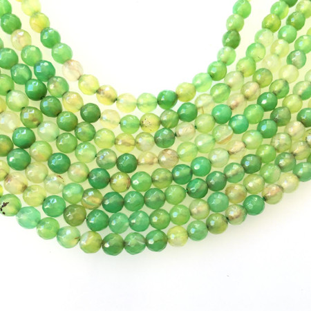6mm multi green faceted agate Gemstone Round beads