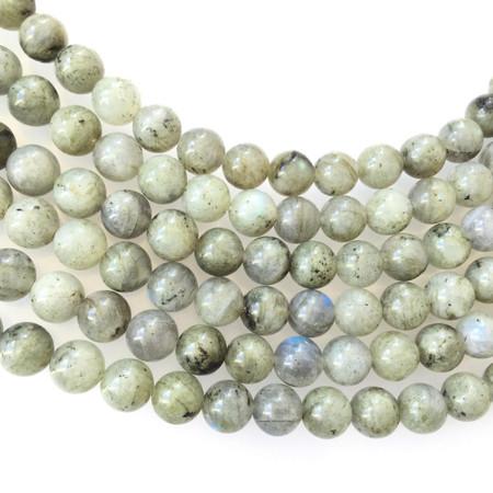 8mm grey Round natural Labradorite Beads