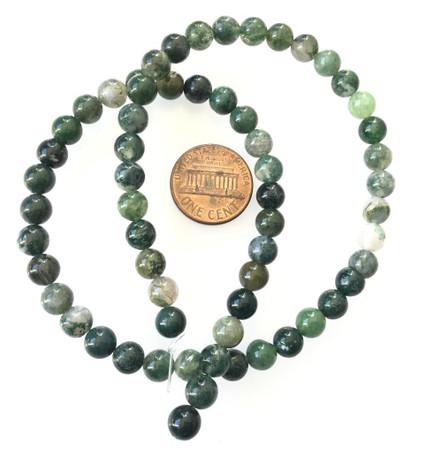 6mm muli dark green smooth agate Gemstone Round beads