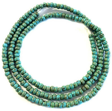 Fine vintage Turquoise Picasso matching 4mm glass beads Trade Beads [3071]