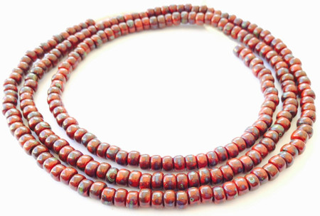 Fine vintage Dark Red Picasso matching 4mm glass beads Trade Beads [3070]