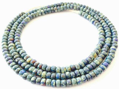 Fine vintage Dark navy Picasso matching 4mm glass beads Trade Beads [3055]