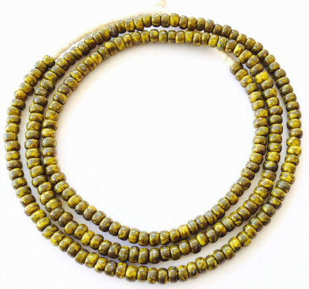 Fine vintage Mustard brown Picasso matching 4mm glass beads Trade Beads [3053]