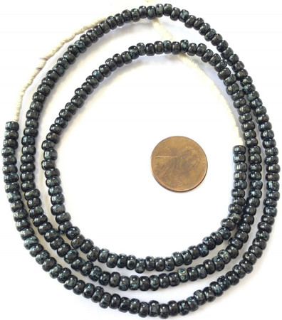 Fine vintage Opaque Black Picasso matching 4mm glass beads Trade Beads [3049]