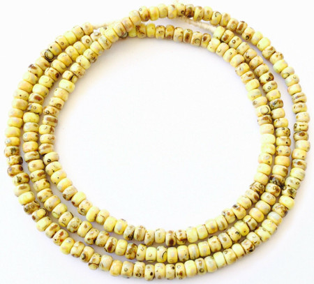 Fine vintage Yellow Picasso matching 4mm glass beads Trade Beads [3047]