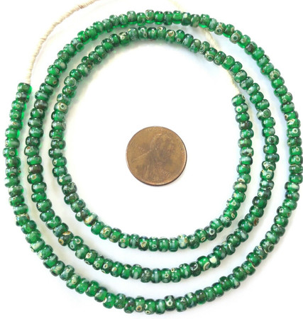 Fine vintage Green Picasso matching 4mm glass beads Trade Beads [3046]