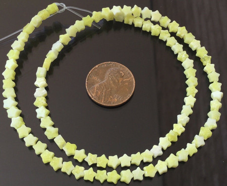 4.5mm Yellow Jade Star Shape Gemstone beads Stone