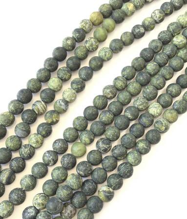 6mm Amazing Dark Green Serpentine Round Gemstone Beads Stone