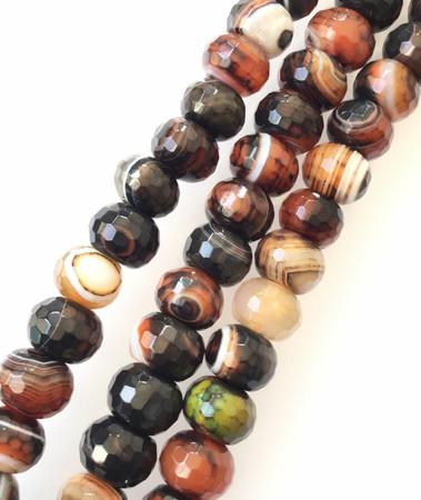30 Amazing Botstwana Agate Rondelle Brown Multi Gemstone Beads Stone