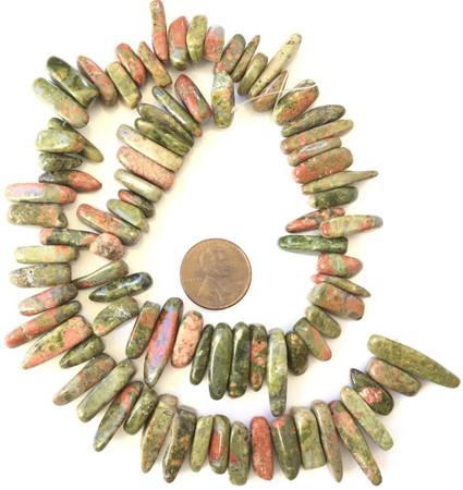 15-23mm Fine Unakite Jasper Gemstone Nugget Sticks Beads-Jewelry Making Beads