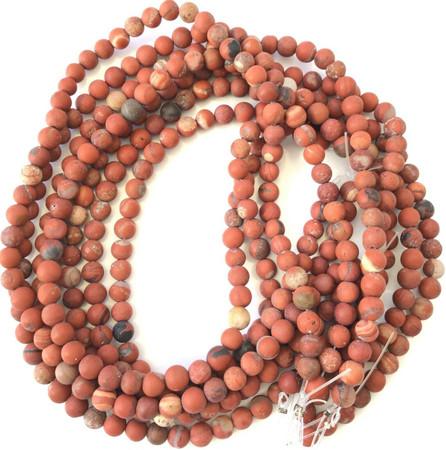 "7mm Amazing Matte Red Blood Jasper Round Gemstone Beads Stone 15"""" Strand"