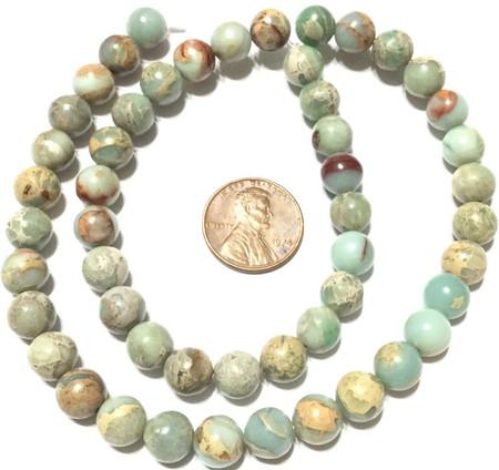 8mm Amazing Green Tan Sediment Jasper beads Round GemStone Jewelry Supplies