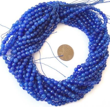 4mm Amazing Blue Faceted Round Jade Gemstone beads Stone