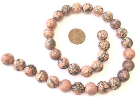 12mm Fine Leopard Skin Jasper Gemstone beads Round Stone Jewelry Supplies