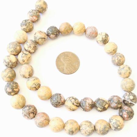 10mm Fine Yellow Leopard Skin Jasper Gemstone beads Round Stone Jewelry Supplies