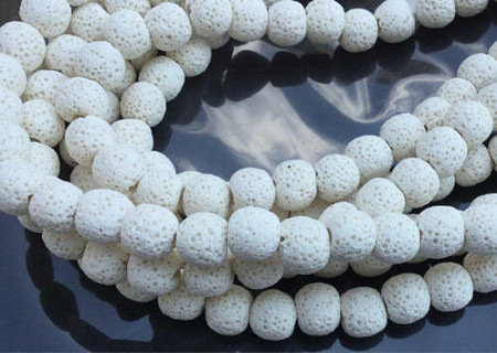 10mm Perfect Round smooth unpolished unwaxed White Volcanic Gemstone lava Beads